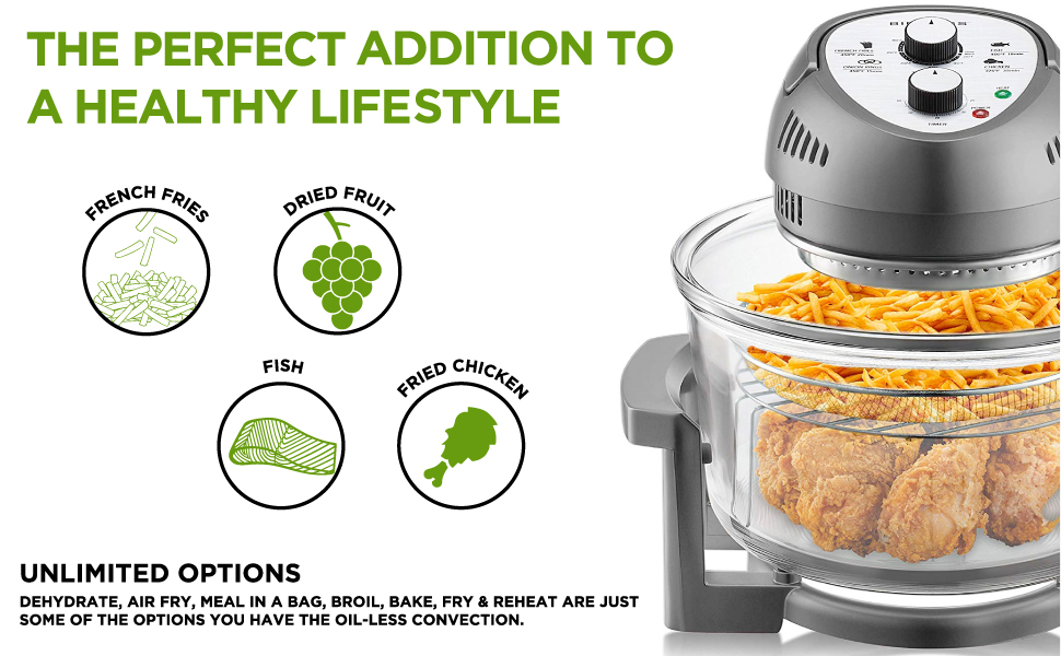 BIG BOSS FRYER, AIR FRY, DEHYDRATE, OILESS CONVECTION, MEAL IN A BAG, HEALTHY FRYING