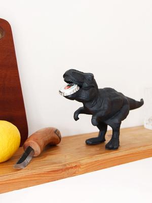 Dinosaur bottle opener with bottle cap in mouth