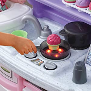 Amazon Com Step2 Little Baker S Kitchen Pink Purple Play Kitchen With Baking Set Toy Kitchen Baking Set Included Toys Games