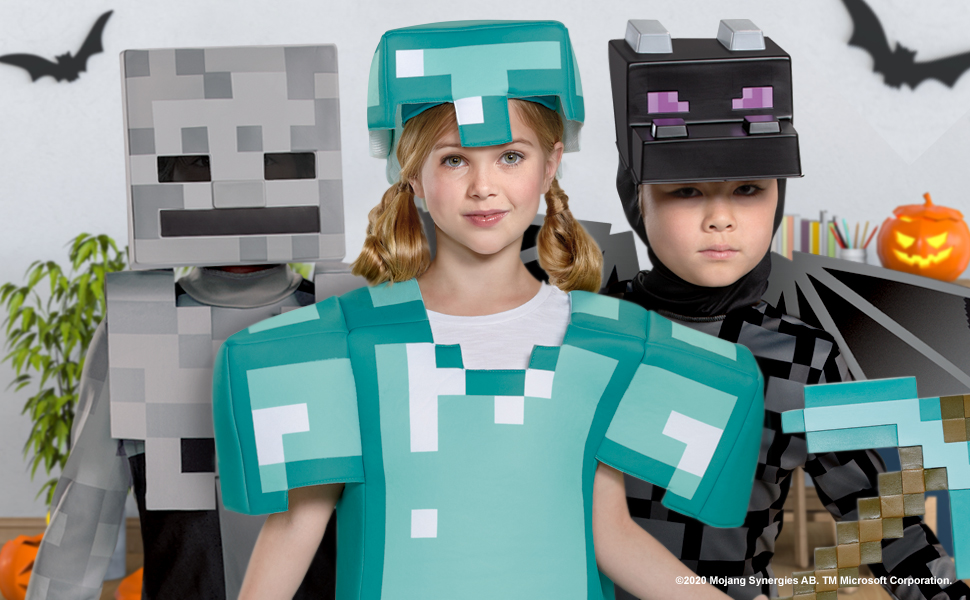 Minecraft Halloween Costume Dress Up Boys Girls Kids Diamond Enderman Steve Alex Creeper Zombie
