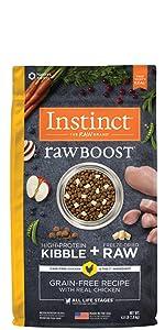 instinct raw boost, raw boost kibble, high protein kibble