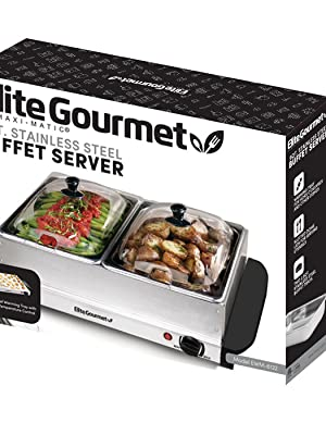 Amazon Com Elite Gourmet Dual Server Food Warmer Adjustable Temp For Parties Holidays 2 X 2 5qt Buffet Trays With Slotted Lids 5 Quart Stainless Steel Kitchen Dining