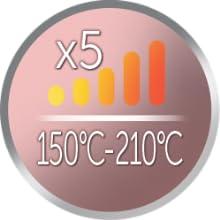 5 إعدادات درجة الحرارة 150 درجة مئوية إلى 210 درجة مئوية