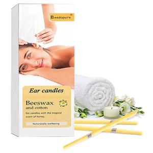 Velas para oídos.Velas de orejas, Terapeuta natural orgánica Fragancia estándar Velas de cono hueco con una toalla de calidad (12 piezas en blanco)