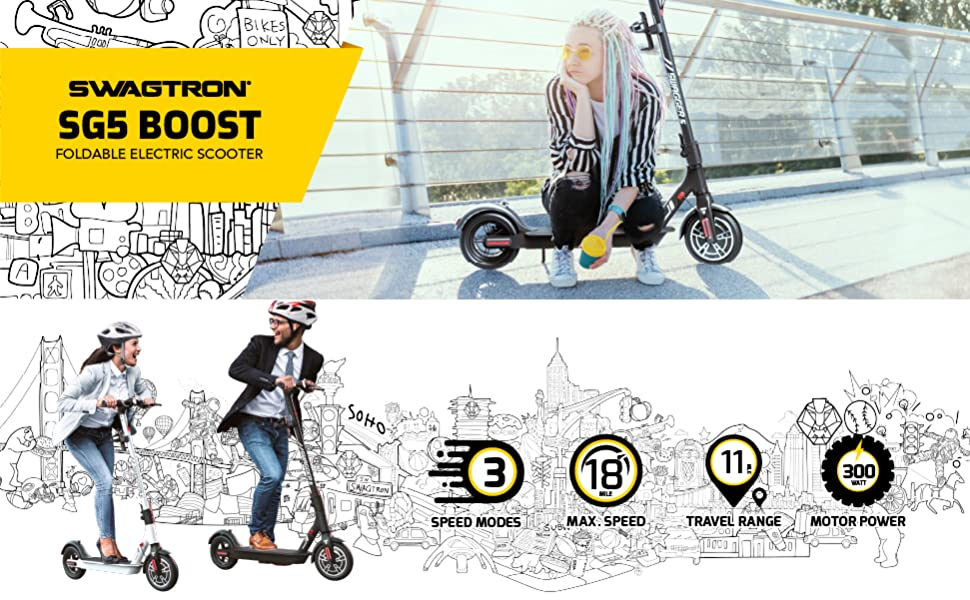 SWAGTRON SG5 BOOST FOLDABLE ELECTRIC SCOOTER