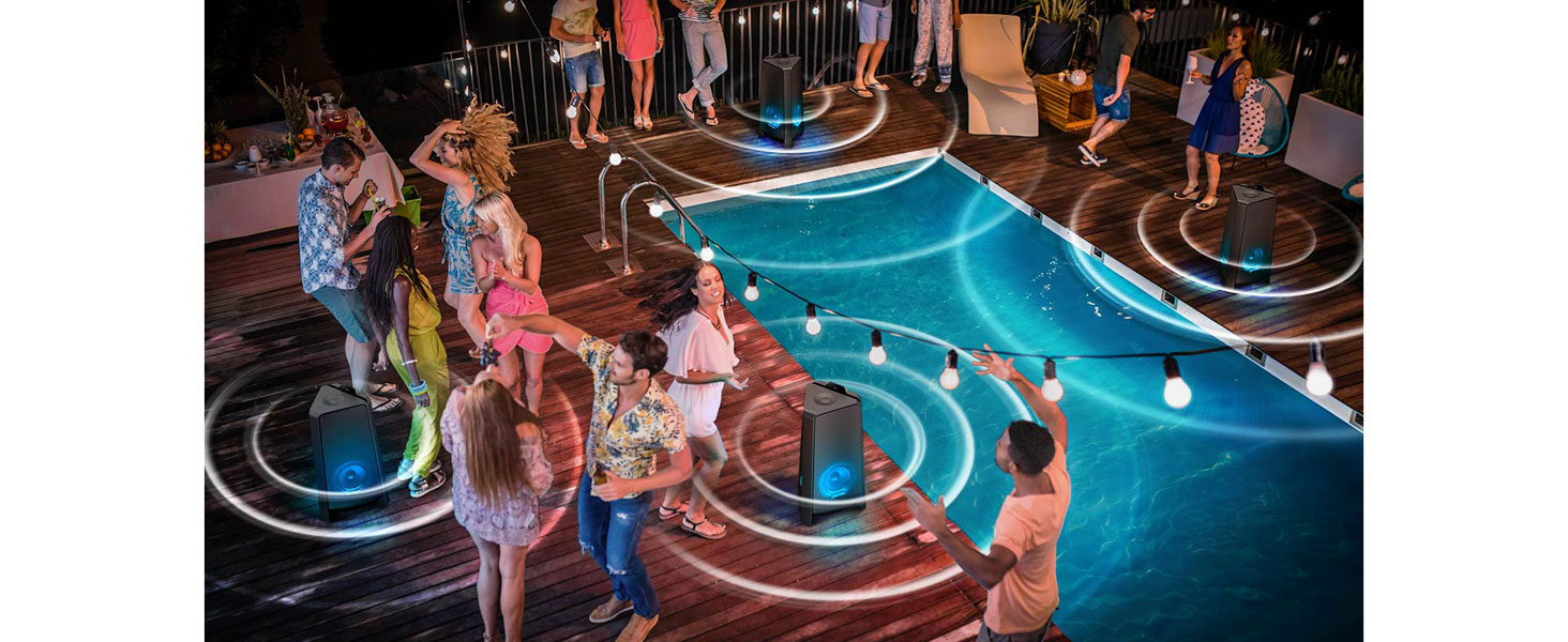 Pool party with several Samsung GIGA Party Soundbars