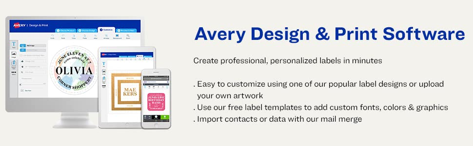 Amazon Com Avery Print To The Edge Round Labels Glossy White 2 5 Diameter 90 Labels 22830 All Purpose Labels Office Products