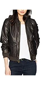 Levis Two-Pocket Faux Leather Hooded Bomber Jacket at ...