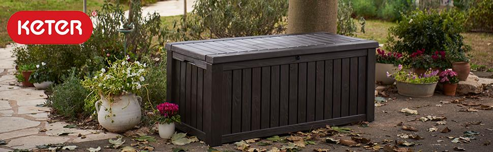 Keter Rockwood 150 Gallon Outdoor Storage Deck Box Patio Garden Bench