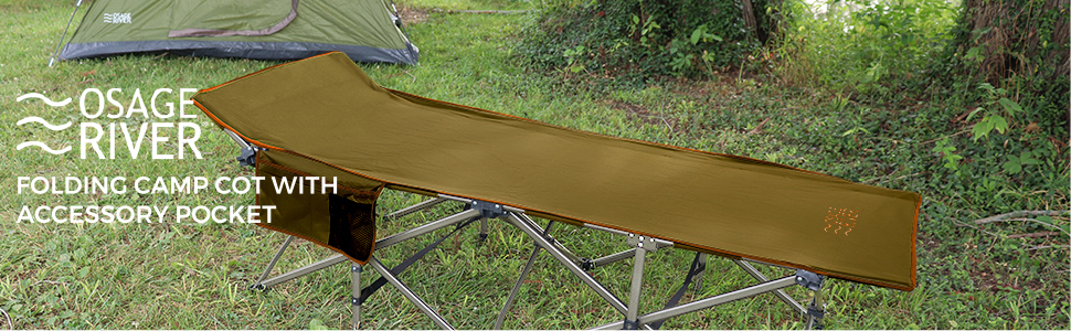Osage River Folding Camp Cot with Accessory Pocket