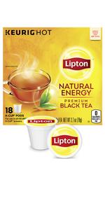 Lipton K-Cup Black tea Natural Energy 18 ct, pack of 4