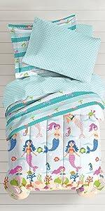 dream big kids children bedding mermaid princess comforter sham soft blanket colorful aqua bedroom