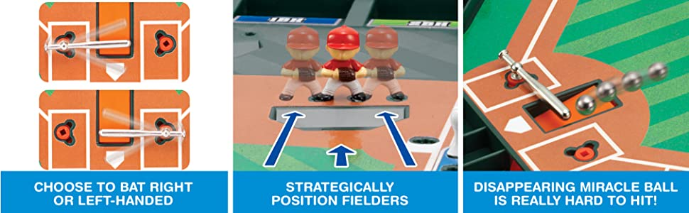 Realistic baseball game, table-top game, 1-2 players, action game