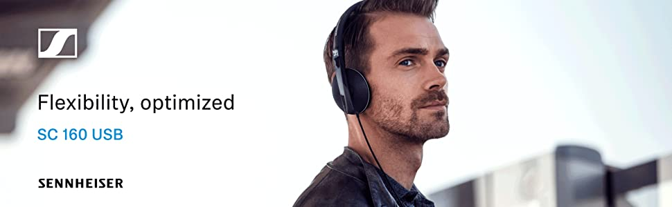 Sennheiser SC160 USB Wired Headset UC Skype for Business double-sided in-line call control HD stereo