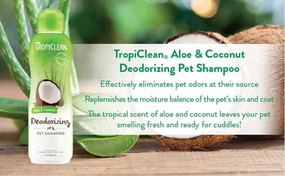 TropiClean aloe & coconut deodorizing pet shampoo