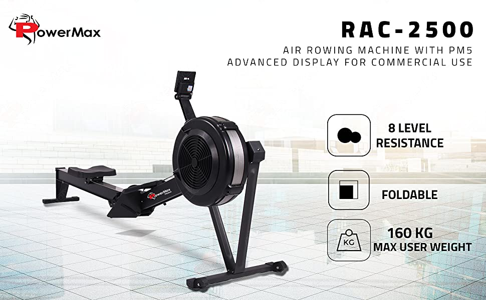PowerMax Fitness RAC-2500 Air Rowing Machine with PM5 Advanced Display for Commercial Use