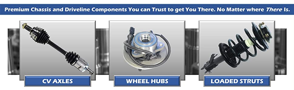 GSP OE Replacement CV Axles Wheel Hubs Bearings Loaded Struts Suspension