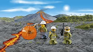 3 minifigures with boulder, walkie-talkie, and pickaxe
