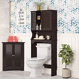 over the toilet storage cabinet brown