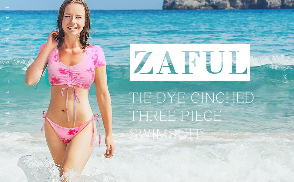 ZAFUL Womens Tie Dye Cinched String Triangle Bikini Set Three-Piece Swimsuit