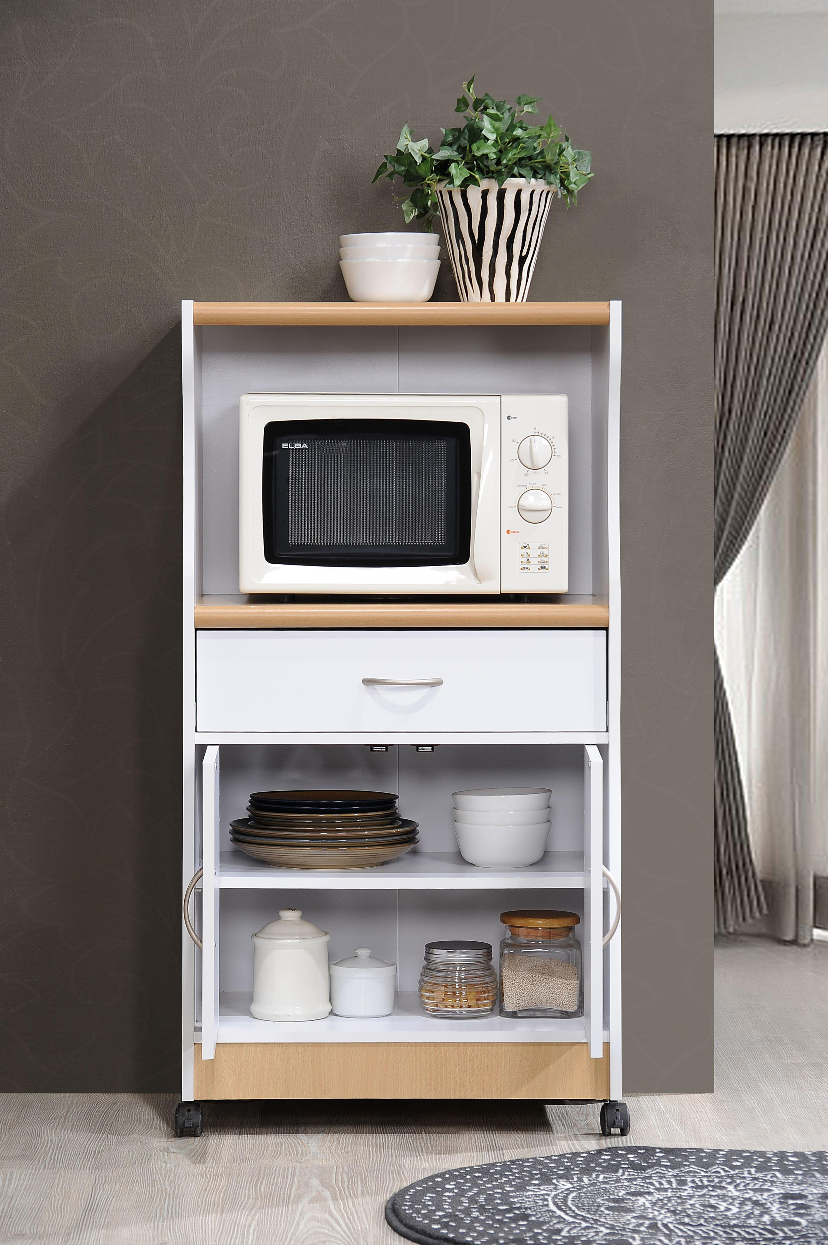 Hodedah Microwave Cart With One Drawer, Two Doors, And
