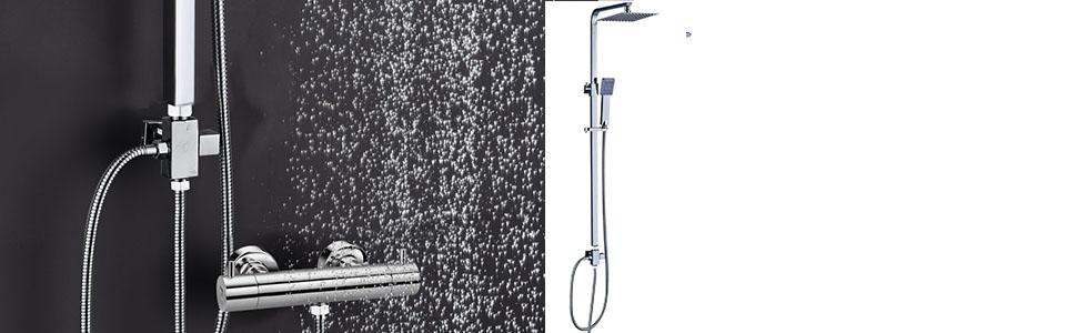 Columna de ducha SIN GRIFERÍA extensible de 80 a 120 cm. cuadrada ...
