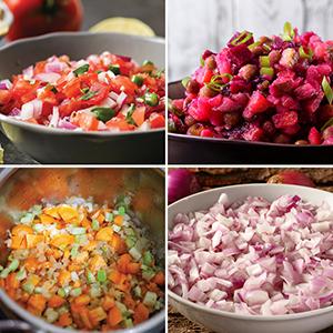 chopped vegetables, homemade salsa, fresh salsa, salsa recipe, sliced vegetables