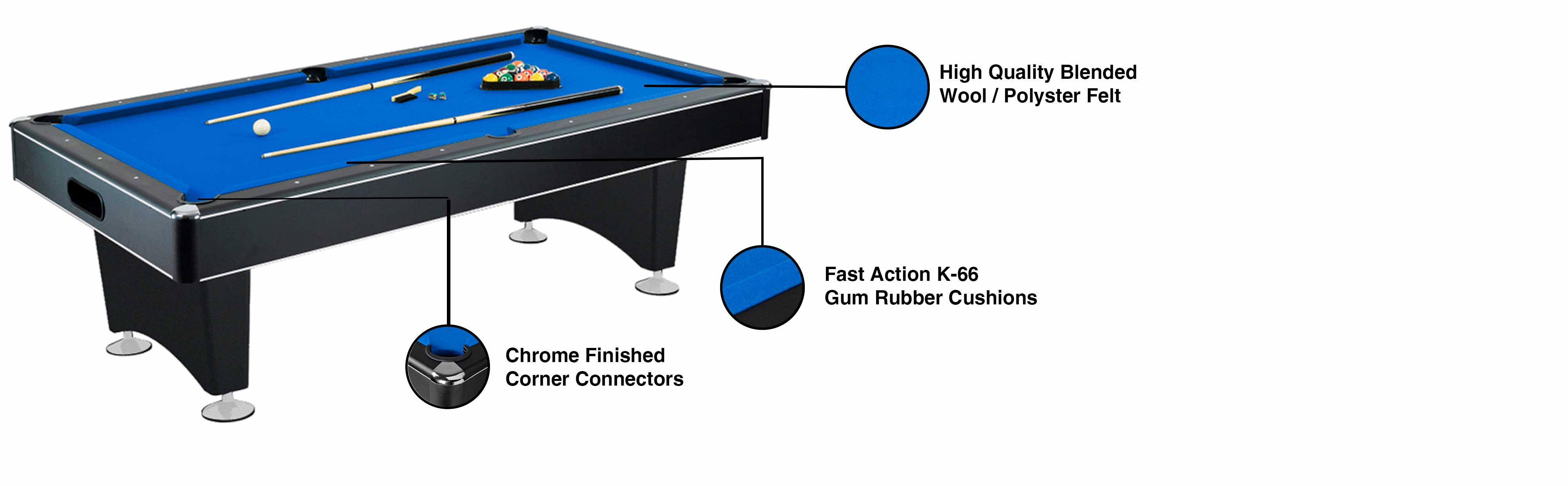 Amazoncom Hathaway Hustler Pool Table With Blue Felt - Sleek pool table