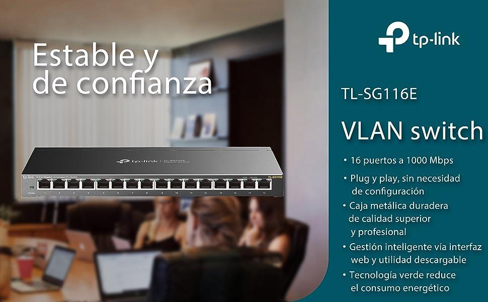 TP-Link TL-SG116E 8-Puerto Gigabit inteligente / Unmanaged PRO ...