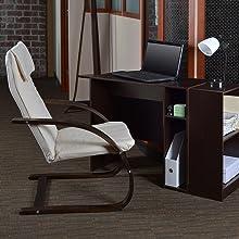 regency, niche, mia, lounge chair, reclining chair, bentwood, mocha walnut, desk, office, beige,