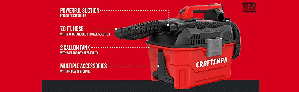 CRAFTSMAN 20-volt Max 2-Gallon Cordless Shop Vacuum Cleaner Portable TOOL ONLY