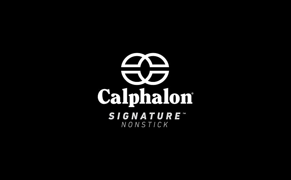 Calphalon logo on black blackground