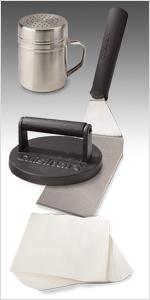 cast iron burger press spatula season shaker