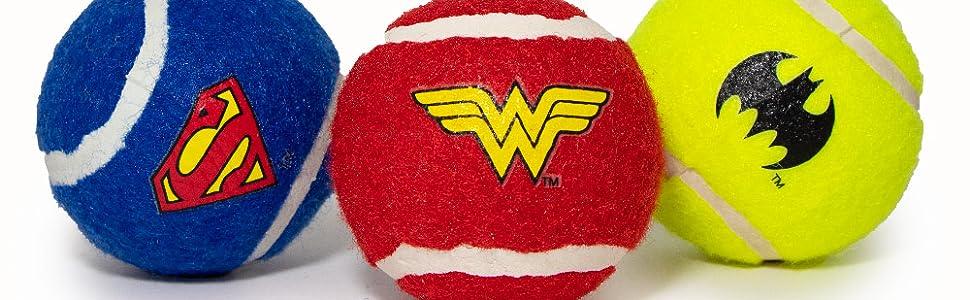 DC Comics Superman Batman Wonder Woman Shield Justice League DCU Universe Pet Toy Tennis Balls Fetch