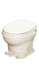 Low profile parchment rv toilet