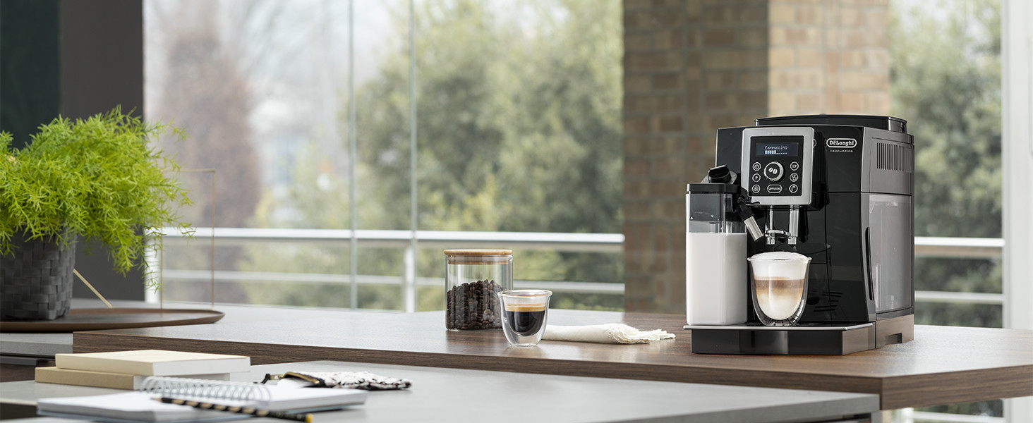 delonghi compact machine on counter