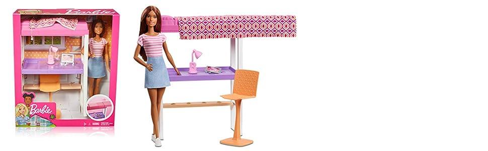 Letto A Castello Barbie.Barbie Playset Camera Da Letto Bambola Brunette Scrivania E
