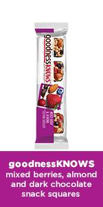 Choose a mix of berries and dark chocolate with this delicious snack square.