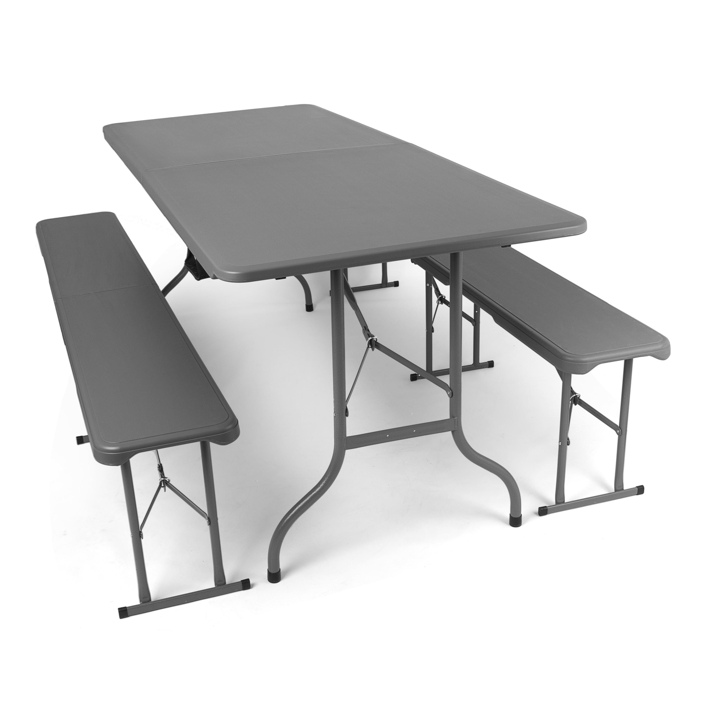 Set birreria pieghevole antracite 1 tavolo e 2 panche da esterno mobili da giardino in - Tavolo pieghevole con maniglia ...