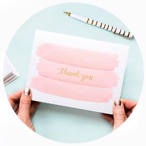 thank you, pink washy, stationery