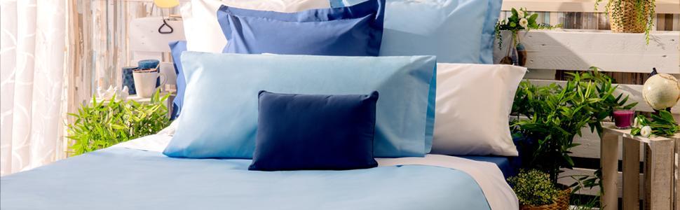 Sancarlos - Sábana bajera , 100% Algodón percal, Color azul, Cama de 80
