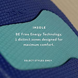 Be Free Energy Technology Insole, 3 distinct zones designed for maximum comfort.