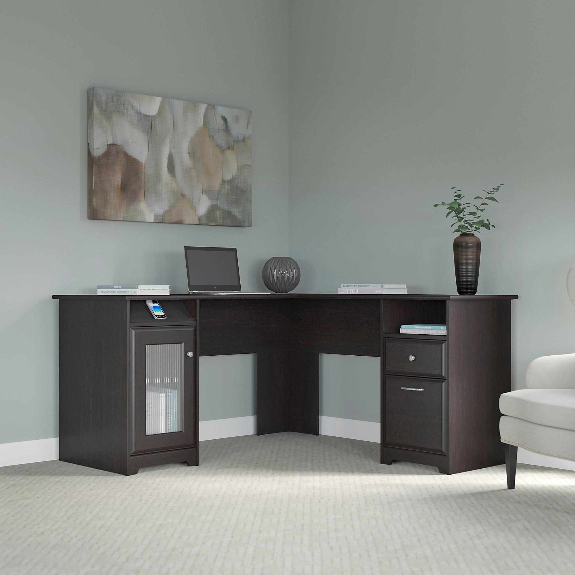 Details about new home office furniture l shaped desk luxury dark brown oak corner 4 usb port