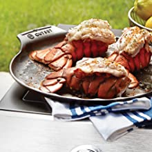 """Cast iron scallop serving tray; grill fish filets, lobster tails, scallops and more; 12"""" diameter"""