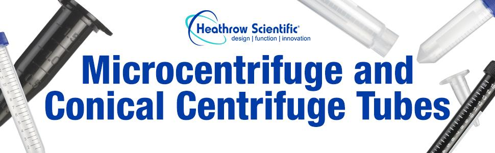 microcentrifuge conical centrifuge tubes Heathrow Scientific lab disposable sterile traceable test