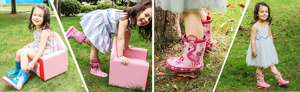 KomForme Waterproof Rubber Printed Rain Boots For Girls And Boys