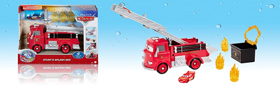 Disney Pixar Cars changement de couleur Stunt /& Splash Red The Fire Truck Playset