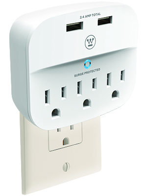wall surge 3 westinghouse sure series surge protector USB charging devices iphone android nintendo