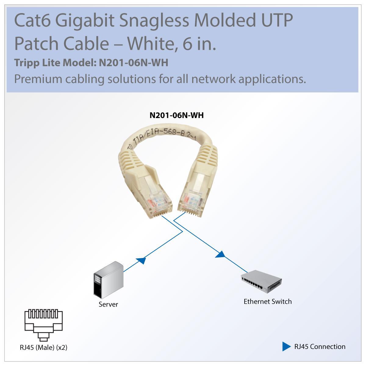 Tripp Lite Cat6 Gigabit Ethernet Snagless Molded Patch Cable Diagram View Larger