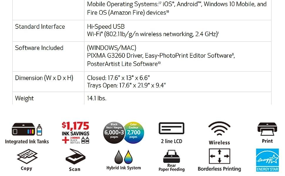 Canon - PIXMA MegaTank G3260 Wireless All-In-One Inkjet Printer - Black